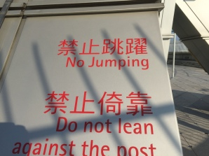 Thank god this sign was there to remind me not to jump...otherwise, who knows what might have happened.