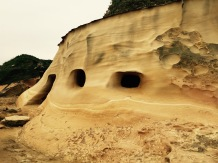 Wind caves formed over the years.