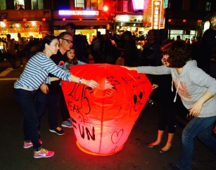 The Limmer Family, friends of ours here in Taipei launch their lantern.